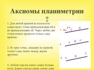1. Для любой прямой на плоскости существуют точки принадлежащие ей и не прина