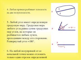 4. Любая прямая разбивает плоскость на две полуплоскости. 5. Любой угол имее