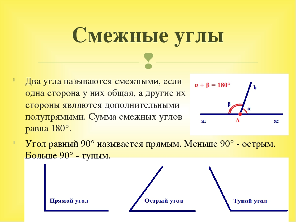 Два угла называются смежными, если одна сторона у них общая, а другие их стор...