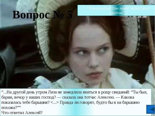 """Вопрос № 2 """"Как тебя зовут, душа моя?"""" — спросил Алексей Акулина"""