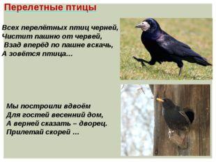Перелетные птицы Всех перелётных птиц черней, Чистит пашню от червей, Взад вп