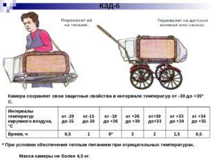 КЗД-6 Камера сохраняет свои защитные свойства в интервале температур от -30 д