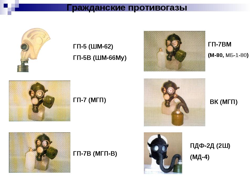 Гражданские противогазы ГП-7 (МГП) ГП-5 (ШМ-62) ГП-5В (ШМ-66Му) ГП-7В (МГП-В)...