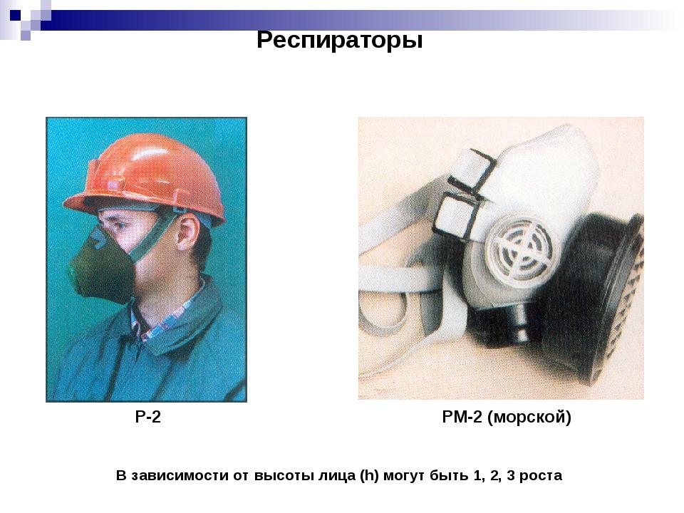 Респираторы Р-2 РМ-2 (морской) В зависимости от высоты лица (h) могут быть 1,...