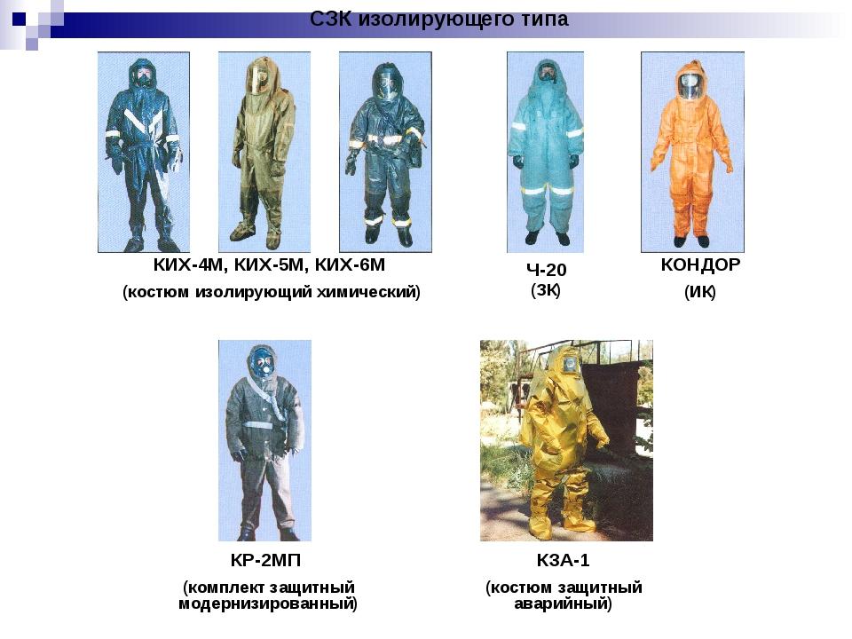 СЗК изолирующего типа КИХ-4М, КИХ-5М, КИХ-6М (костюм изолирующий химический)...