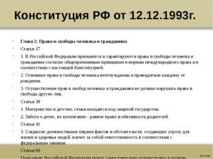 Конституция РФ от 12.12.1993г. Глава 2. Права и свободы человека и гражданина