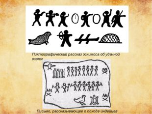 Пиктографический рассказ эскимоса об удачной охоте Письмо, рассказывающее о п