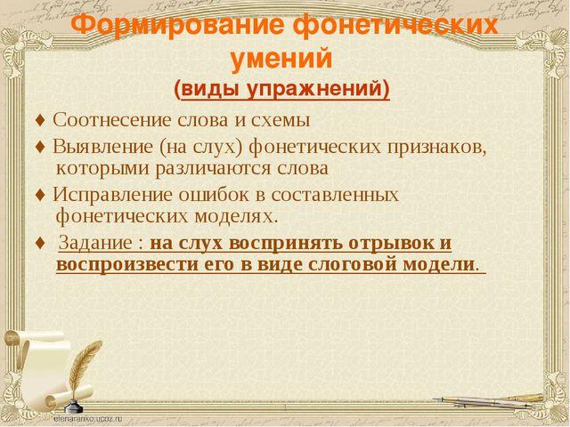 Формирование фонетических умений (виды упражнений) ♦ Соотнесение слова и схем...