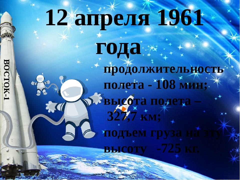 12 апреля 1961 года ВОСТОК-1 продолжительность полета - 108 мин; высота поле...