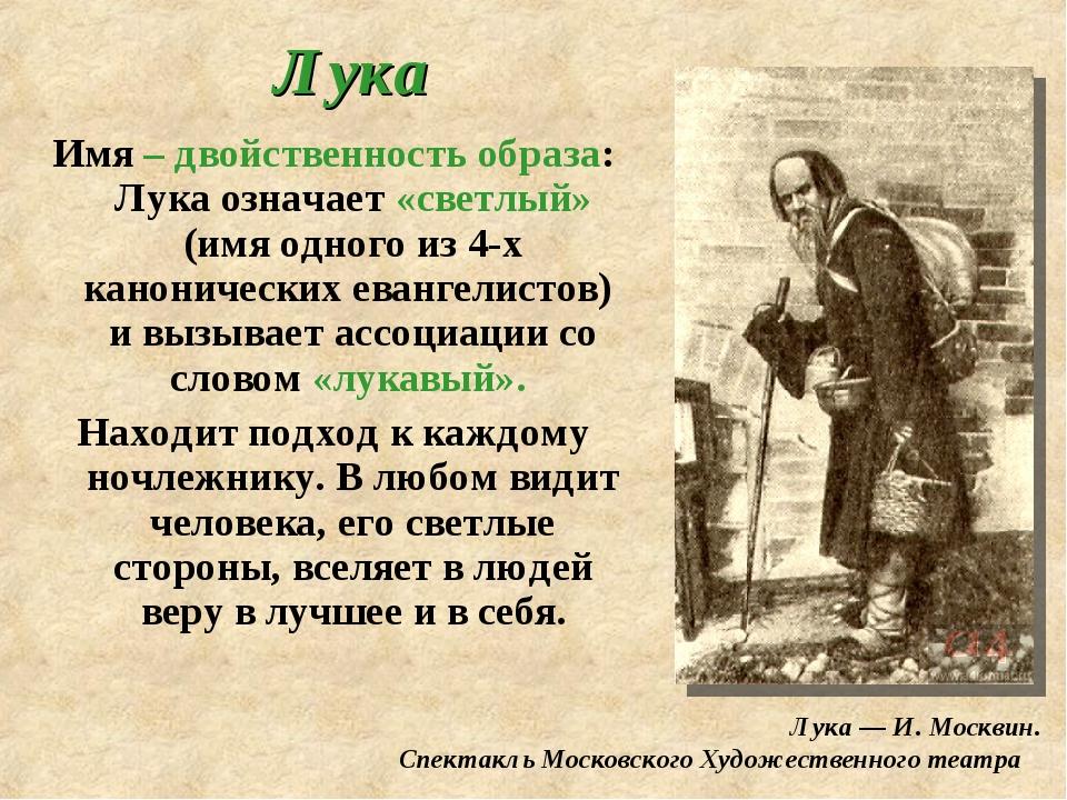 Лука Имя – двойственность образа: Лука означает «светлый» (имя одного из 4-х...