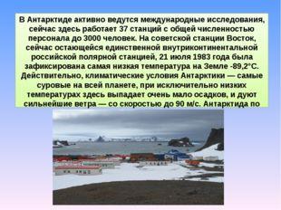 В Антарктиде активно ведутся международные исследования, сейчас здесь работае