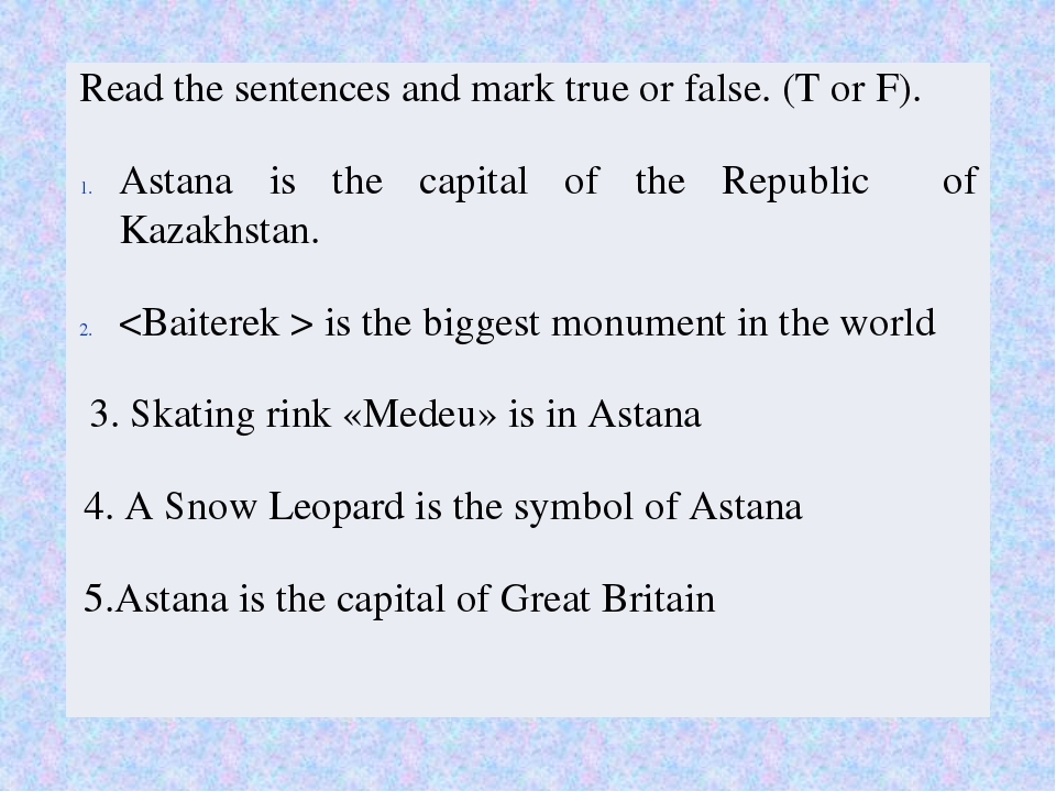 true false false true false Read the sentences and mark true or false.(T or F...