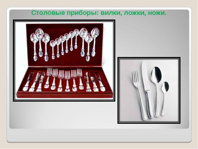 Столовые приборы: вилки, ложки, ножи.