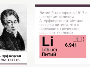 А. Арфведсон 1792–1841 гг. Литий был открыт в 1817 г. шведским химиком А. Ар