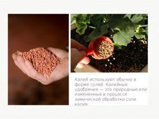 Калий используют обычно в форме солей. Калийные удобрения — это природные или