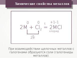 Химические свойства металлов При взаимодействии щелочных металлов с галогена