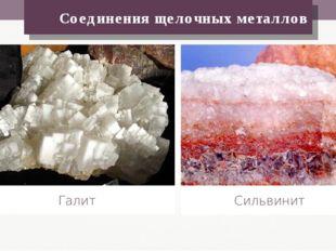 Соединения щелочных металлов Галит Сильвинит