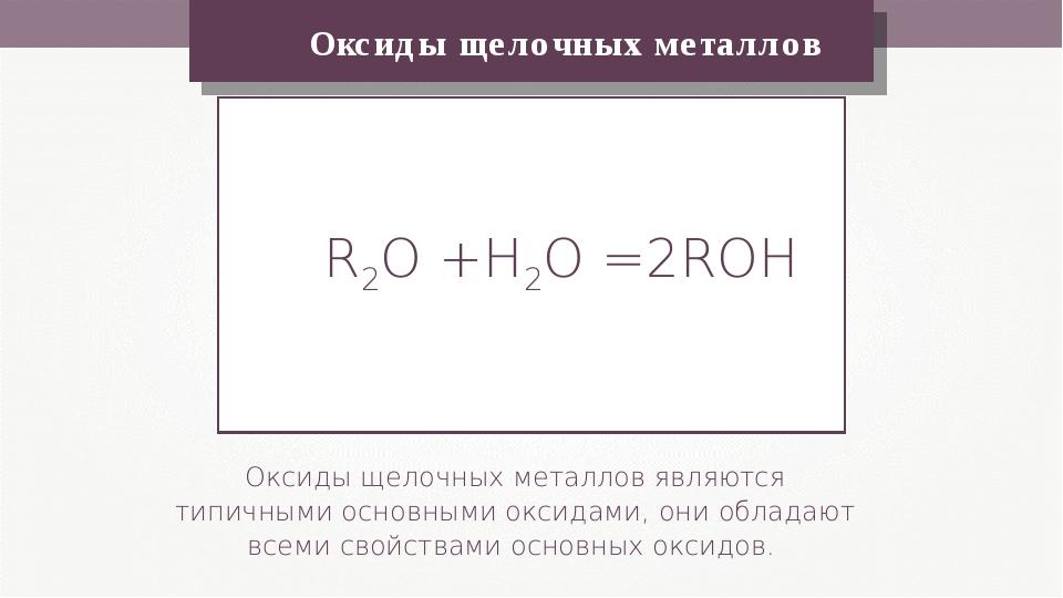 Оксиды щелочных металлов Оксиды щелочных металлов являются типичными основны...
