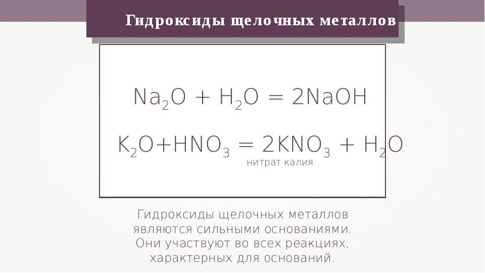 Гидроксиды щелочных металлов Гидроксиды щелочных металлов являются сильными...