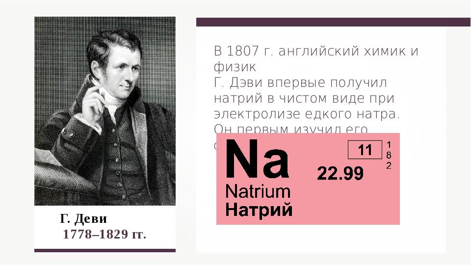Г. Деви 1778–1829 гг. В 1807 г. английский химик и физик Г. Дэви впервые пол...
