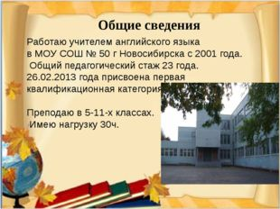 Работаю учителем английского языка в МОУ СОШ № 50 г Новосибирска с 2001 года.