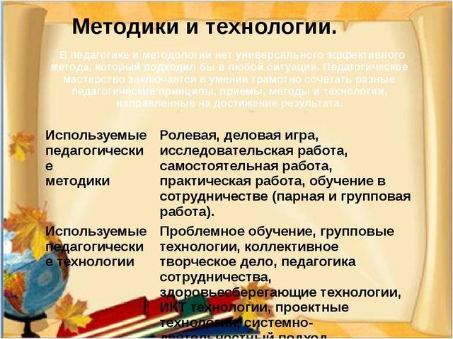 Методики и технологии. В педагогике и методологии нет универсального эффект...
