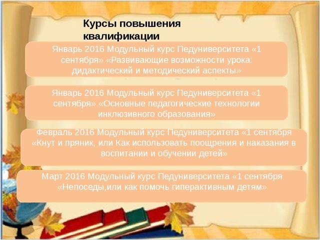 Курсы повышения квалификации Январь 2016 Модульный курс Педуниверситета «1 се...