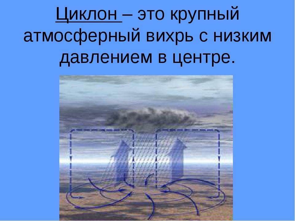 Циклон – это крупный атмосферный вихрь с низким давлением в центре.