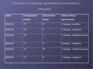 Пример из таблицы наблюдений за погодой и птицами. ДатаТемпература воздухаК