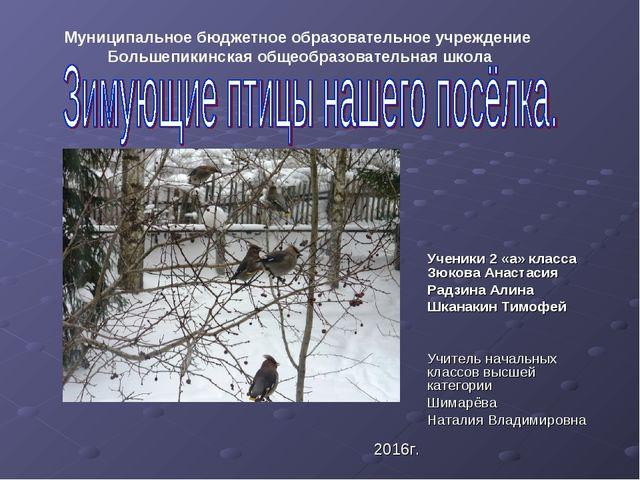 Ученики 2 «а» класса Зюкова Анастасия Радзина Алина Шканакин Тимофей Учитель...