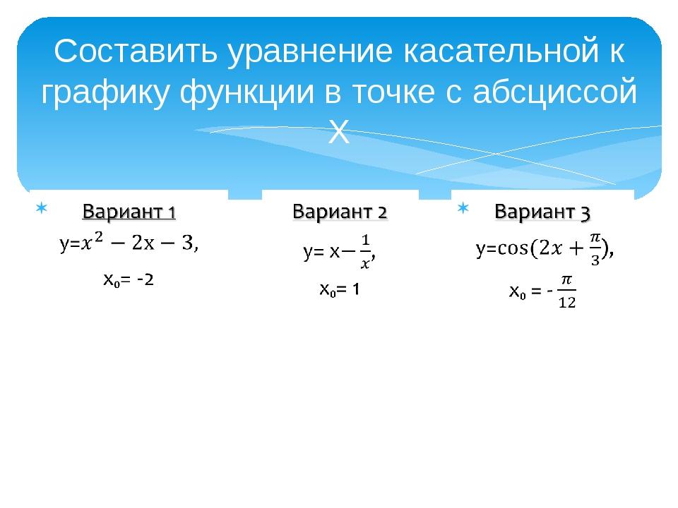 Составить уравнение касательной к графику функции в точке с абсциссой X