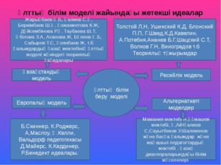 Ұлттық білім беру моделі Қазақстандық модель Европалық модель Альтернативті м