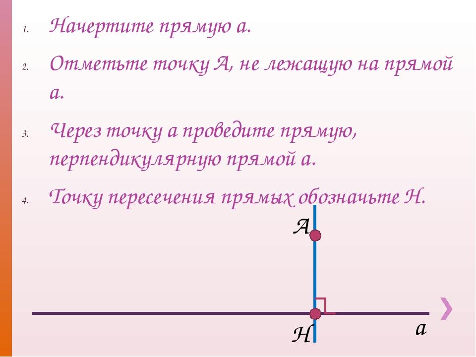 Начертите прямую а. Отметьте точку А, не лежащую на прямой а. Через точку а п...