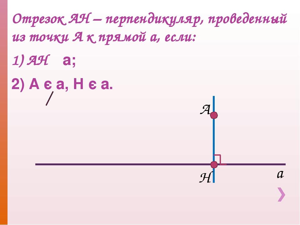 Отрезок АН – перпендикуляр, проведенный из точки А к прямой а, если: 1) АН ┴...