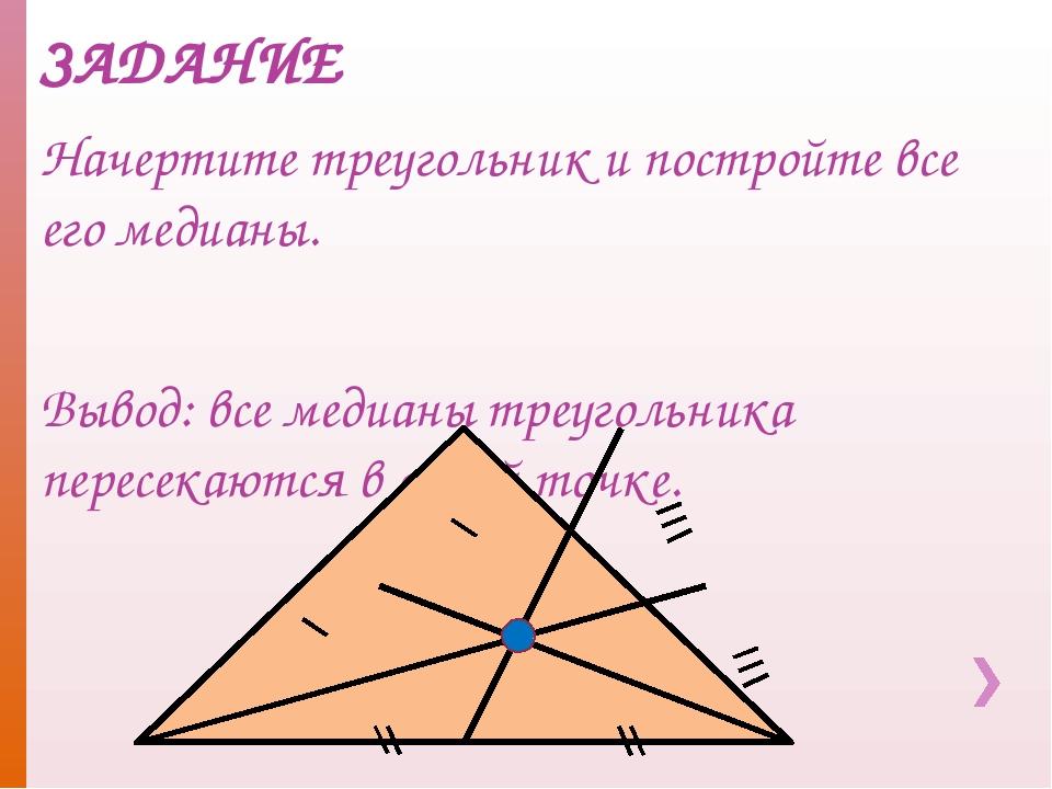 ЗАДАНИЕ Начертите треугольник и постройте все его медианы. Вывод: все медианы...