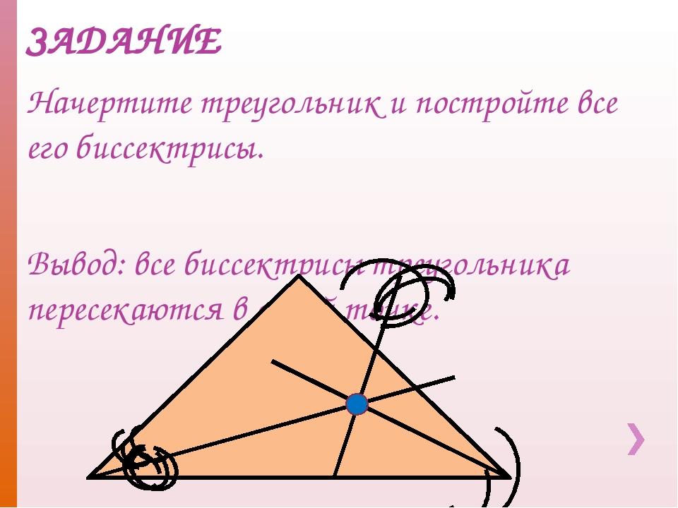 ЗАДАНИЕ Начертите треугольник и постройте все его биссектрисы. Вывод: все бис...
