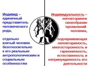 Индивид – единичный представитель человеческого рода, отдельно взятый человек