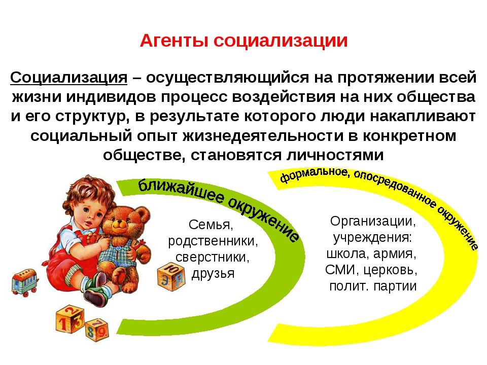 Агенты социализации Социализация – осуществляющийся на протяжении всей жизни...