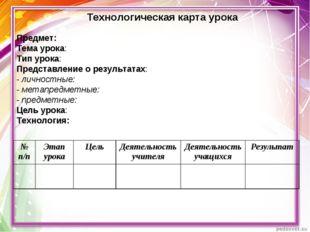 Предмет: Тема урока: Тип урока: Представление о результатах: - личностные: -