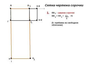 . В . В . Н . Н 1 . Г . Г 1 6÷8 . . 6÷8 1 Сетка чертежа сорочки ВВ - ширина с