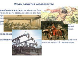 Этапы развития человечества Первобытная эпоха(протяжённость более 1,5 млн. ле