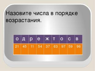 Назовите числа в порядке возрастания. о д р е ж т о с в 21 45 11 54 37 63 97