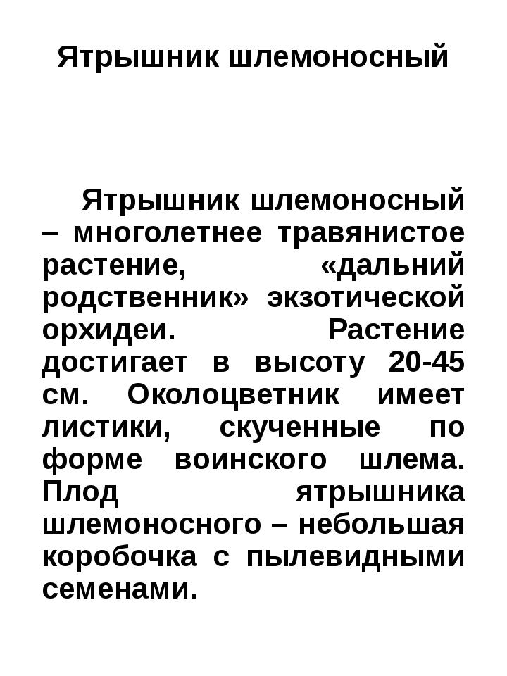 Ятрышник шлемоносный Ятрышник шлемоносный – многолетнее травянистое растение,...