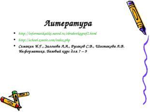 Литература http://informatikaiikt.narod.ru/obrabotkagraf2.html http://school.