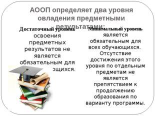 АООП определяет два уровня овладения предметными результатами: Достаточный ур