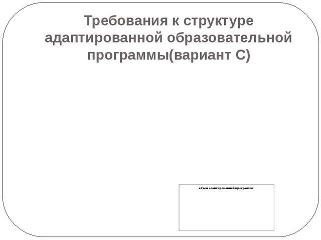 Требования к структуре адаптированной образовательной программы(вариант С)