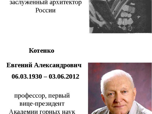 профессор, первый вице-президент Академии горных наук Тхор заслуженный архите...