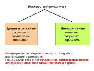 Последствия конфликта Дезинтегративные разрушают партнёрские отношения Интегр