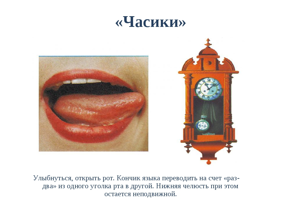 «Часики» Улыбнуться, открыть рот. Кончик языка переводить на счет «раз-два»...