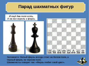 Парад шахматных фигур И ещё два поля есть, А на них король и ферзь. Запомнит